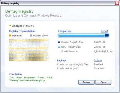 Desfragmente o registro do Windows