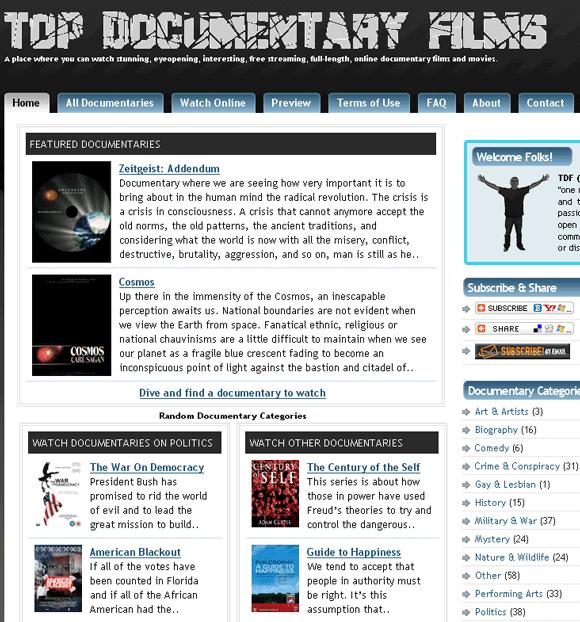 Assista documentários online gratuitamente