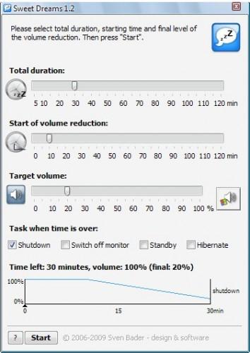 Ajuste o volume da música no PC para dormir