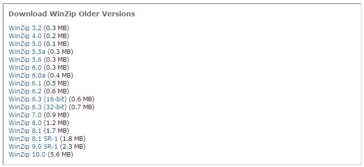 Versões antigas de software para download
