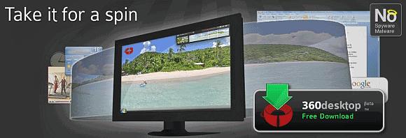 Aumente a desktop: tela em 360 graus