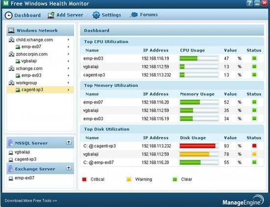 Ferramenta de monitoração para servidores Windows