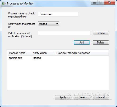 Windows: Notificação automática quando um processo iniciar ou terminar