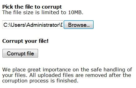 Como corromper um arquivo intencionalmente