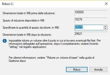 Creare una partizione su Windows