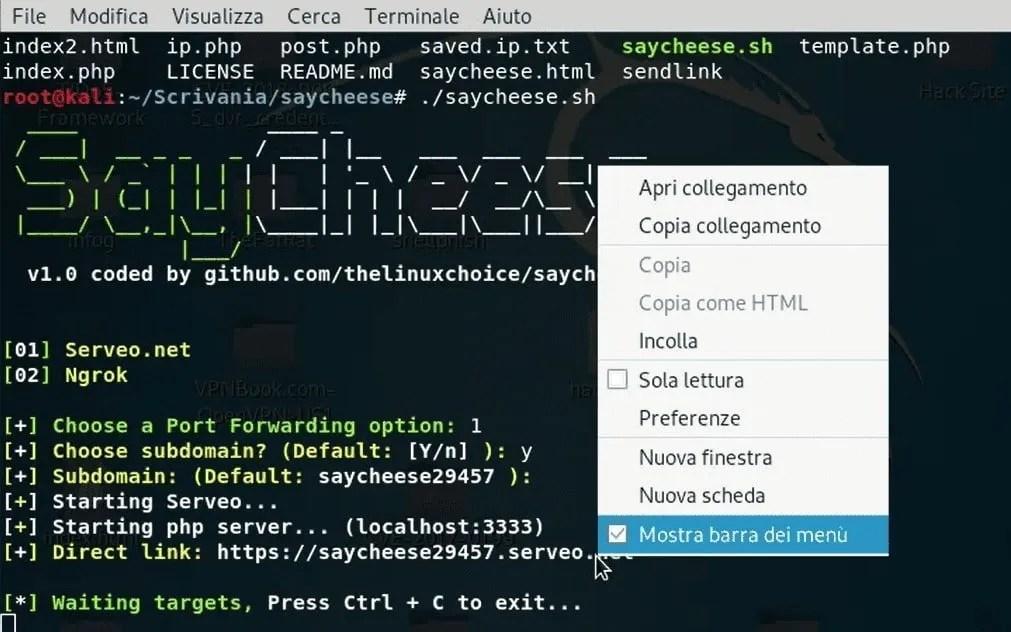 creazione link dannoso con selezione directory di installazione di saycheese