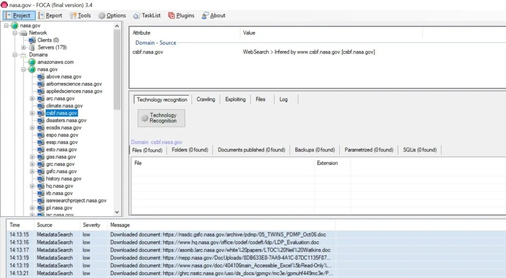 scoprire sottomini e web server con foca pro
