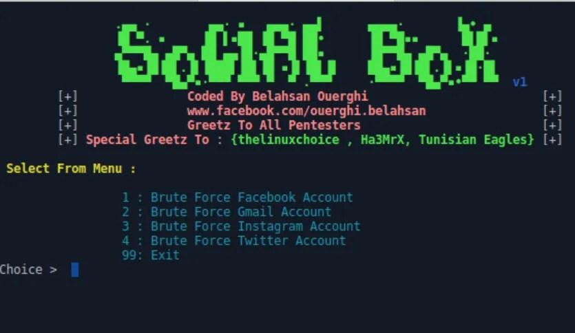 Scoprire le password con Socialbox