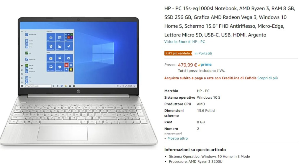 Guida Acquisto Notebook Carta Docente [Gennaio 2021]: HP - PC 15s-eq1000sl AMD