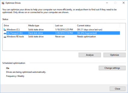 How to defragment disk on Windows 10