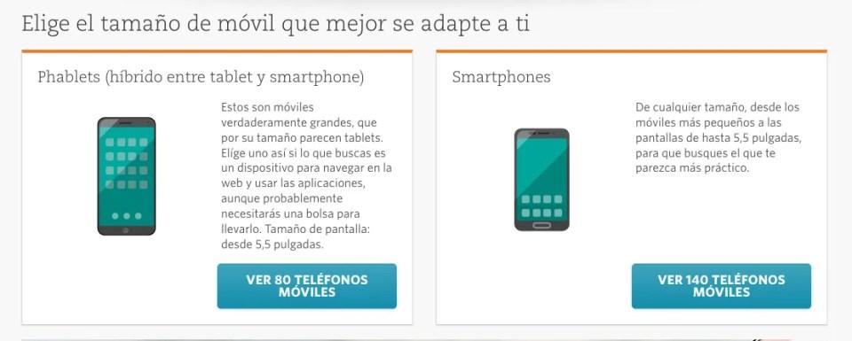 Comparador de móviles OCU