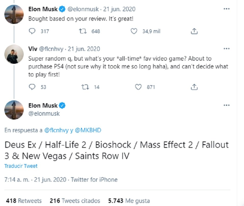 Gracias a Twitter nos hemos enterado de los videojuegos favoritos de Elon Musk