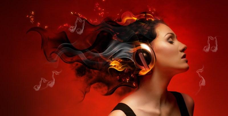 repetir canciones auriculares mujer