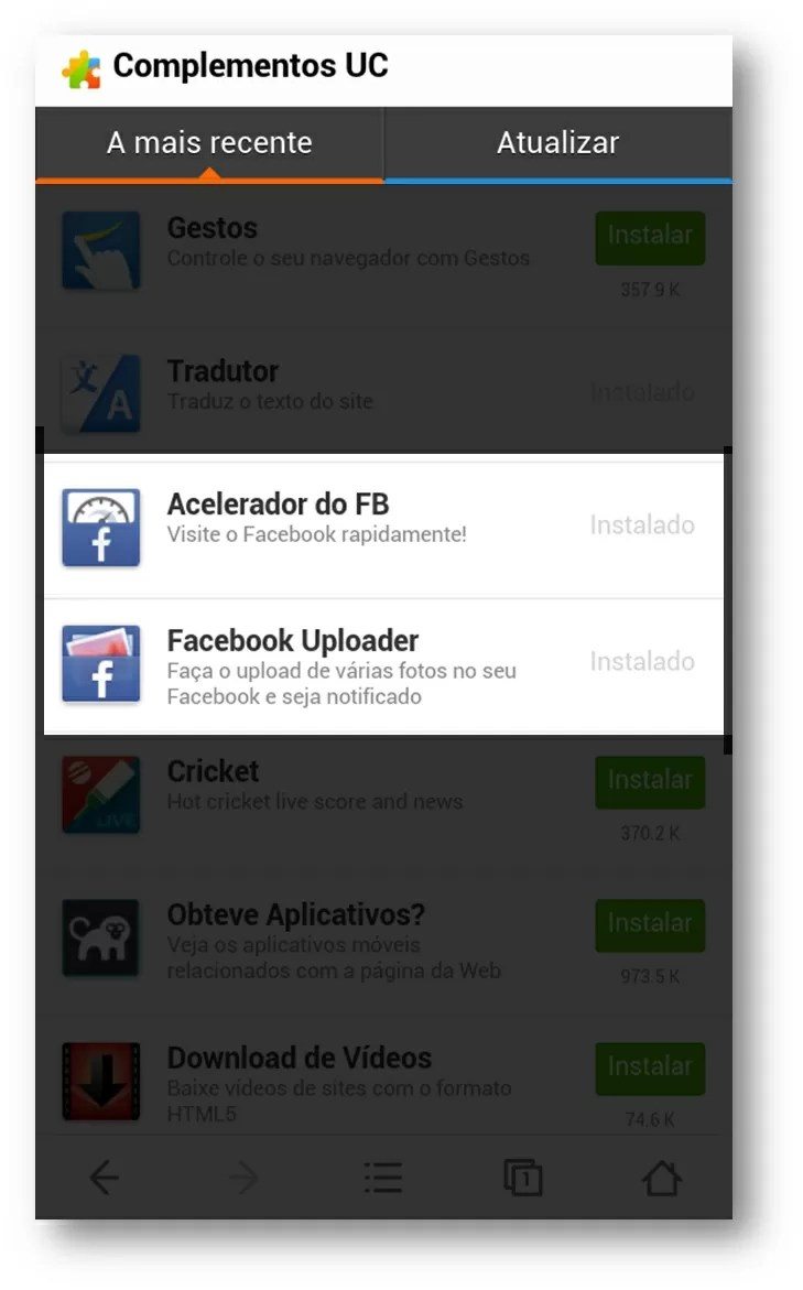UC Browser complementos Facebook