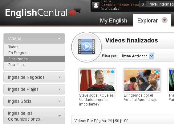Aprender inglés con English Central- PDI, Recursos TIC