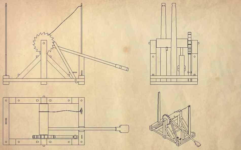 Construye una catapulta leonardo da vinci tecnosalva for Catapulta di leonardo da vinci