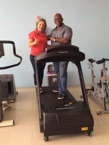 Sherryl Leal (TECNOSPORTS) and Yunard Nay Philips (LIFELINE FITNESS Curacao). Fitness Equipment supplier TECNOSPORTS
