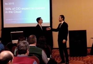 Ariel Amue y Juan Marino dialogan, en lo que fue el formato elegido por Cisco para la Jornada