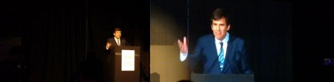 Aníbal Carmona en sus dos versiones, en vivo y proyectada, dando su primer discurso oficial como el nuevo presidente de CESSI.