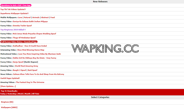 Wapking – Free Bollywood Games | Latest MP3 Songs | Unlimited Videos | Ringtones | Wallpapers