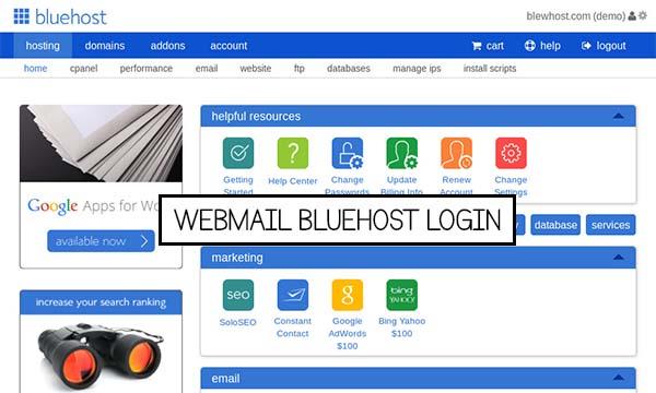 Webmail Bluehost Login