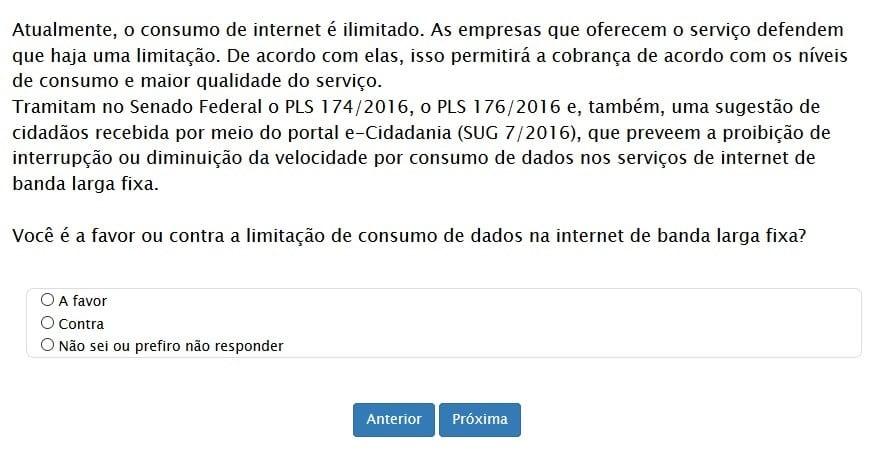 limite de internet senado federal quer a sua opinião em relação ao limite de internet