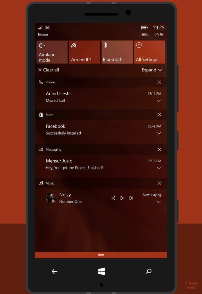 Windows 10 Mobile 1º de abril - windows 10 mobile recebe tiles interativas e explosão de novidades em atualização surpresa 1º de Abril – Windows 10 Mobile recebe Tiles interativas e explosão de novidades em atualização surpresa windows 10 mobile redesigned action center concept by armend07 d9gthrl