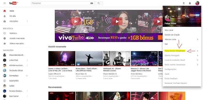 Youtube dark youtube dark: como deixar o youtube com tema escuro Youtube Dark: Como deixar o Youtube com tema escuro youtube captura
