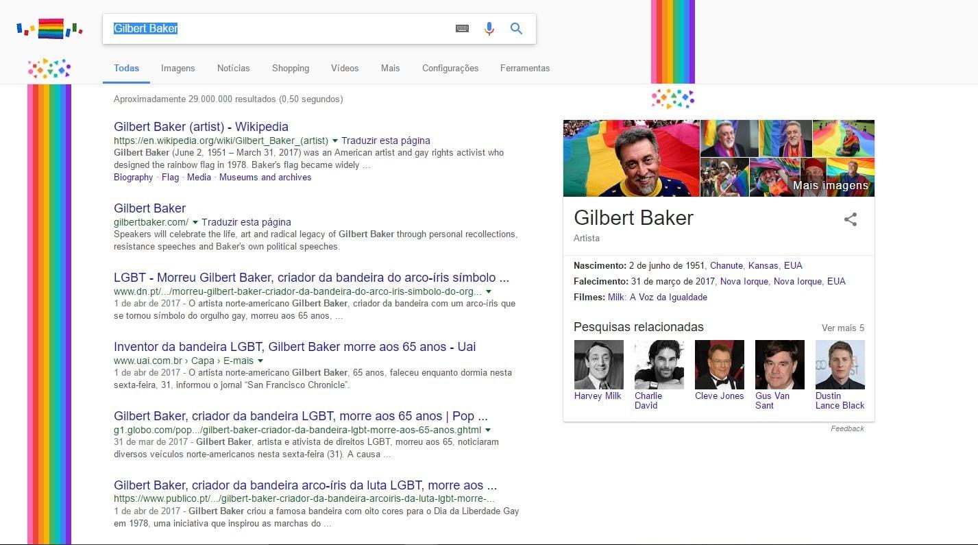 Gilbert Baker google comemora 66º aniversário de gilbert baker, criador da bandeira símbolo do orgulho gay