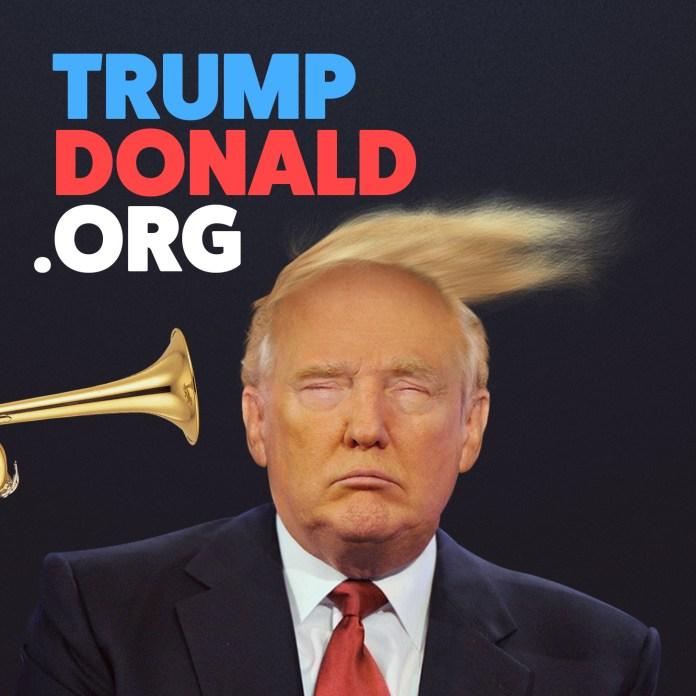 """Site """"Trump Donald"""" tira sarro do presidente norte-americano com uma trombeta instagram share image"""