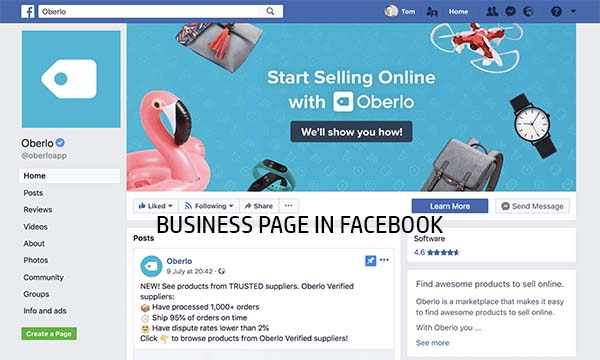 Business Page in Facebook