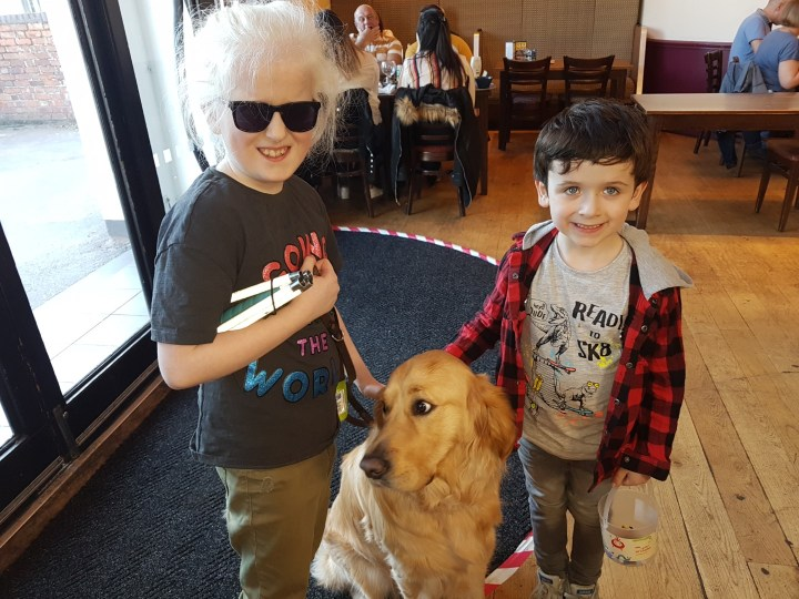 Teddy in a sit pose on wooden floor, just inside the door of Wetherspoons, with Livvy (10 - white hair, dark glasses, dark tshirt and folded long cane under her right arm) on his right side, and Noah (6 - dark hair, white tshirt and red & black cheked jacket) on his left