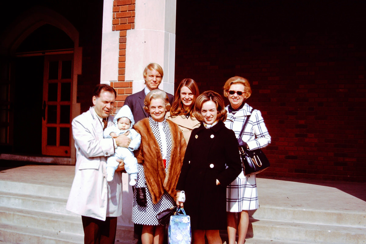March 1970: Doug's Baptism; George, Doug, [redacted], Joan, Susie, Jan, Fran