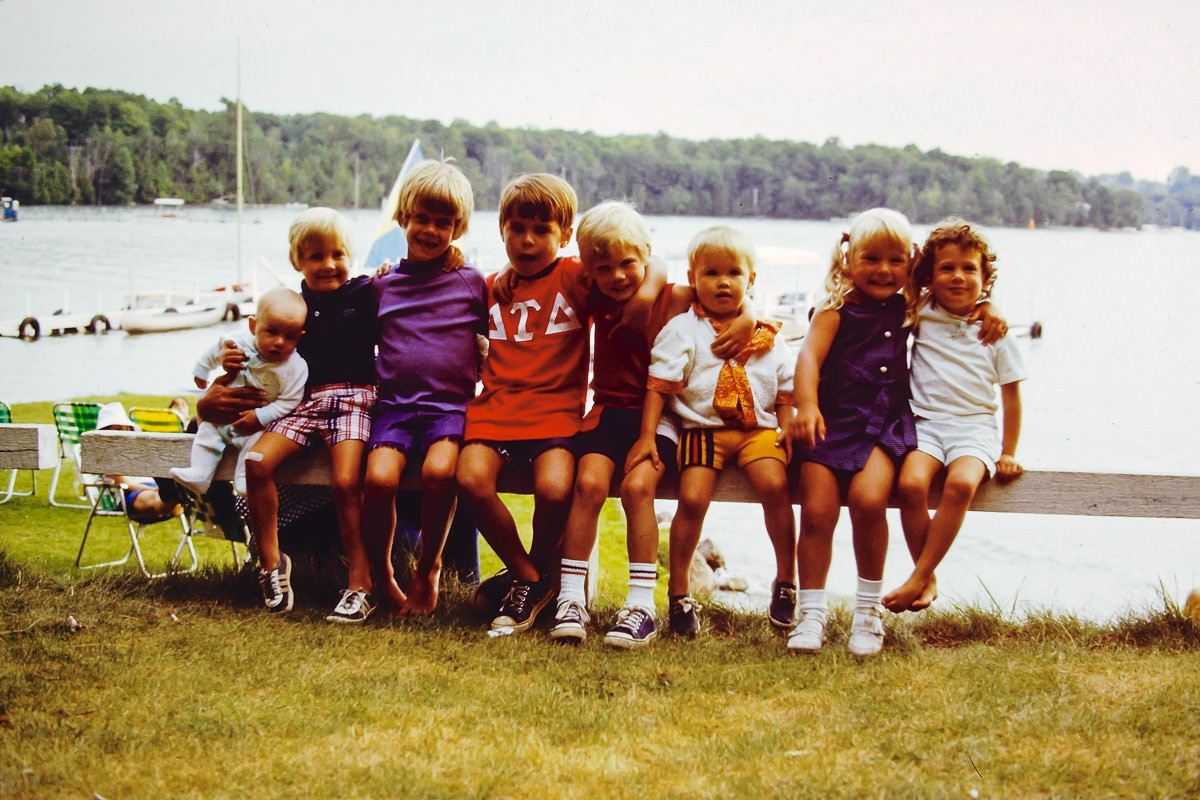 Walloon Lake 1974: me, Doug, no idea, Dickey, Rob, Greg, Jenny, no idea