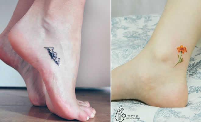40 ideias minúsculas de tatuagens no pé 4