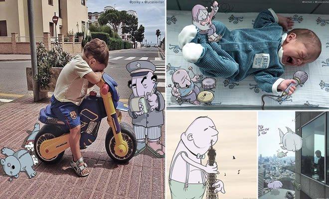 Ilustrador adiciona Cartoons engraçados em Fotos de estranhos (30 fotos) 3