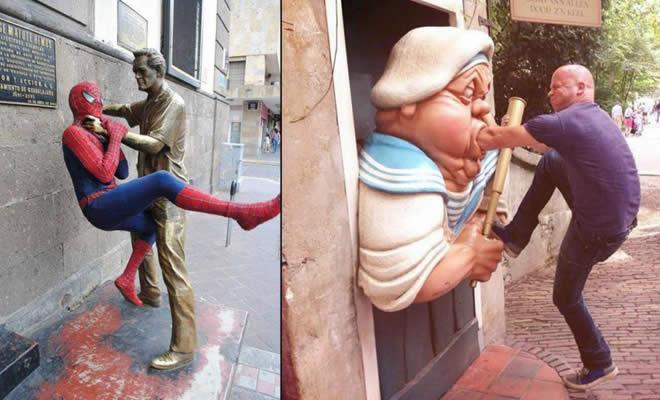 26 pessoas que sabem se divertir quando vêem uma estátua 20