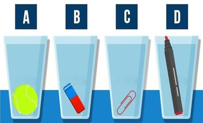 Qual copo contém mais água?