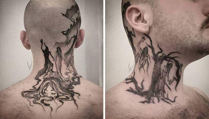 45 idéias inspiradoras de tatuagem para o pescoço e nuca 23