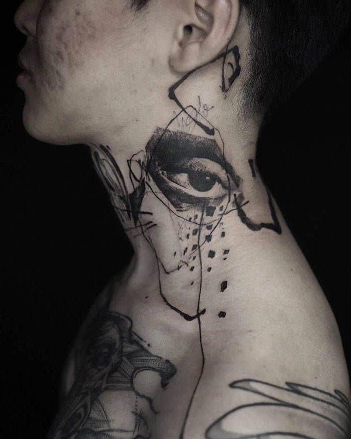 45 idéias inspiradoras de tatuagem para o pescoço e nuca 41