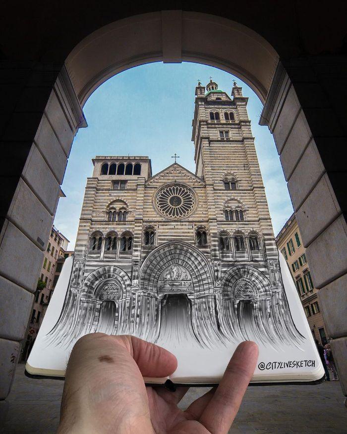 Artista cria fotografias alucinantes misturando desenhos com realidade (34 fotos) 2