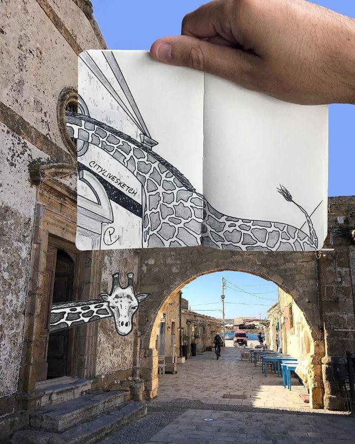 Artista cria fotografias alucinantes misturando desenhos com realidade (34 fotos) 7
