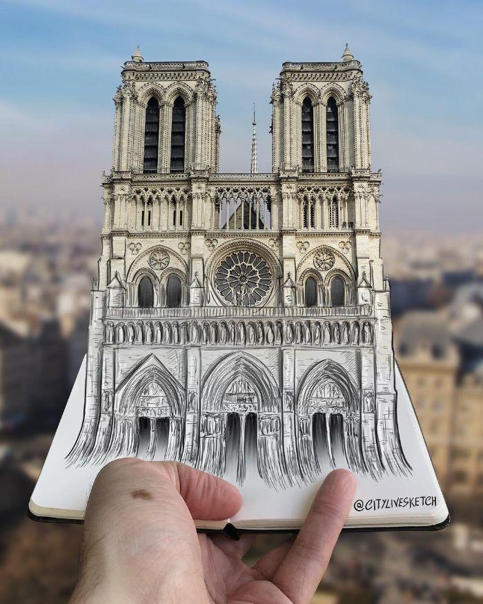 Artista cria fotografias alucinantes misturando desenhos com realidade (34 fotos) 8