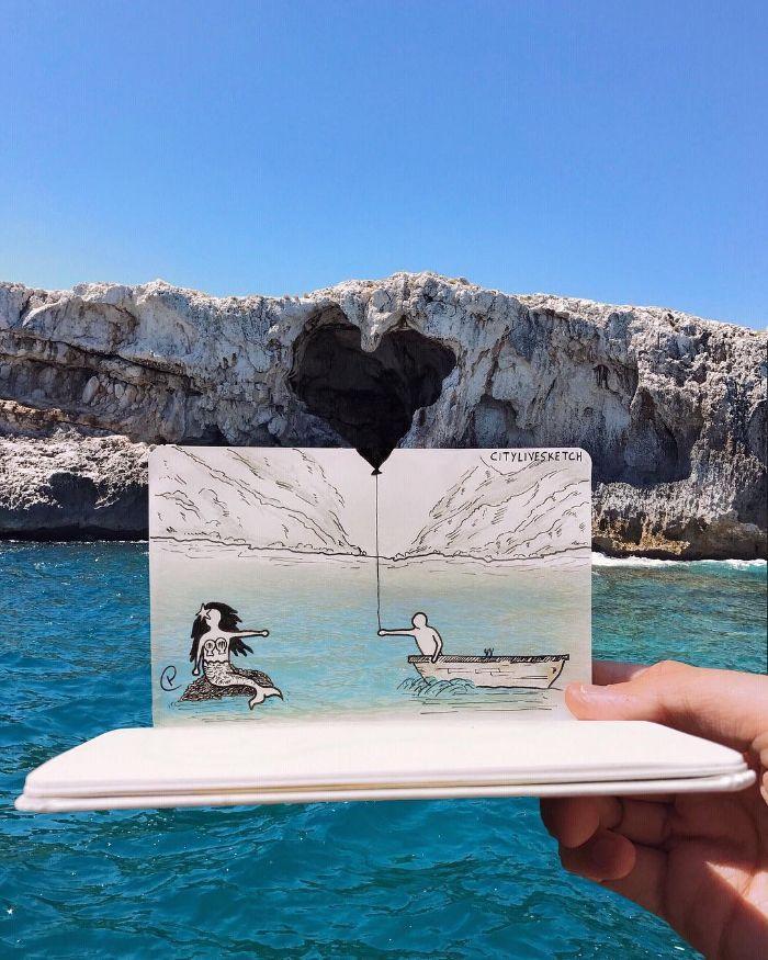 Artista cria fotografias alucinantes misturando desenhos com realidade (34 fotos) 11