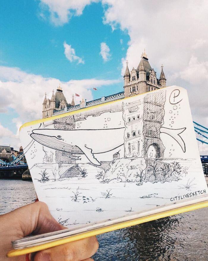 Artista cria fotografias alucinantes misturando desenhos com realidade (34 fotos) 12