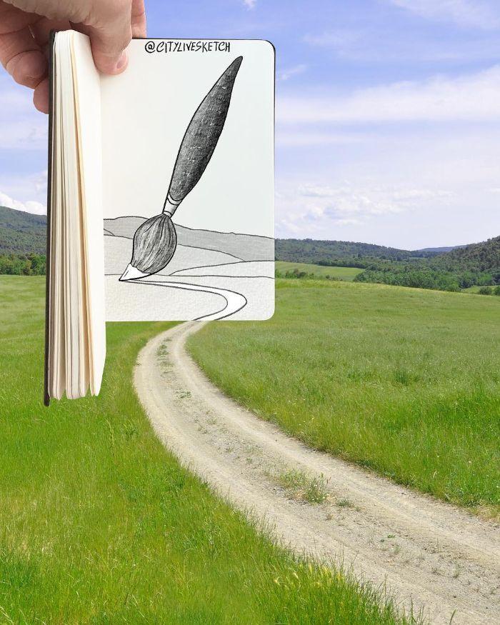 Artista cria fotografias alucinantes misturando desenhos com realidade (34 fotos) 23