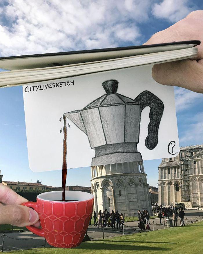 Artista cria fotografias alucinantes misturando desenhos com realidade (34 fotos) 27