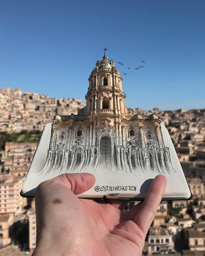 Artista cria fotografias alucinantes misturando desenhos com realidade (34 fotos) 28