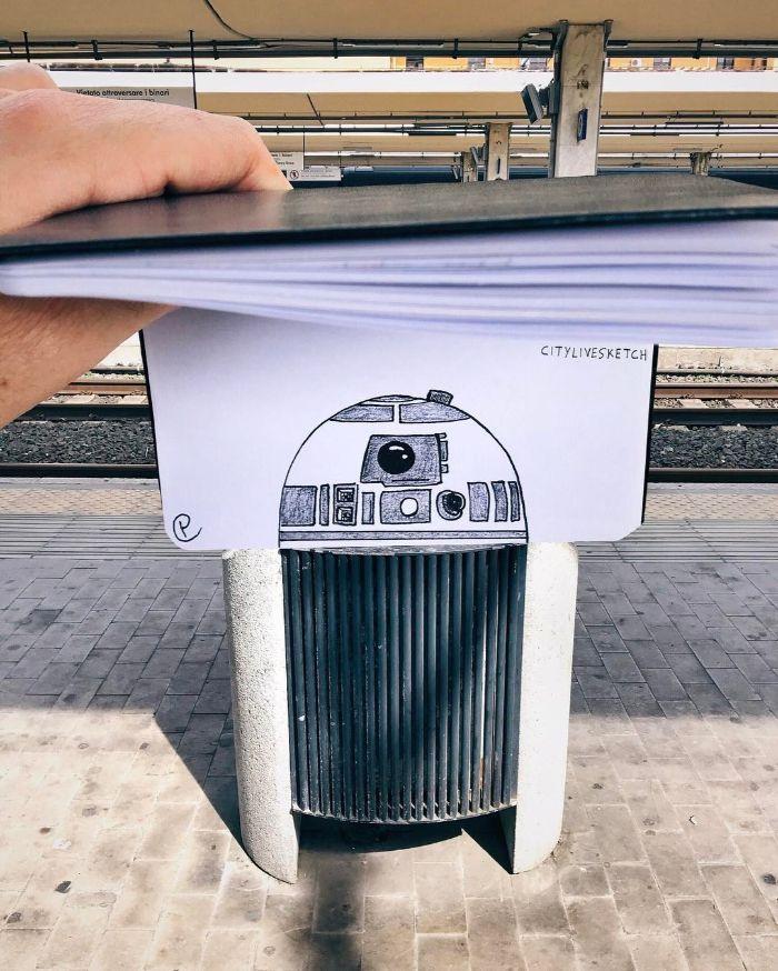 Artista cria fotografias alucinantes misturando desenhos com realidade (34 fotos) 34