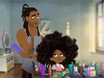 Animação mostra um pai afro-americano aprendendo a pentear o cabelo da filha pela primeira vez 3